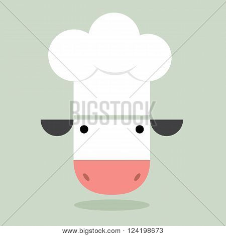 Cow chef cartoon icon, cute white cow with chef hat