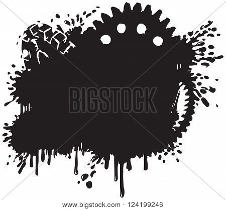 Vector Splatter and Gear Vector Background Silhouette Clip Art Illustration