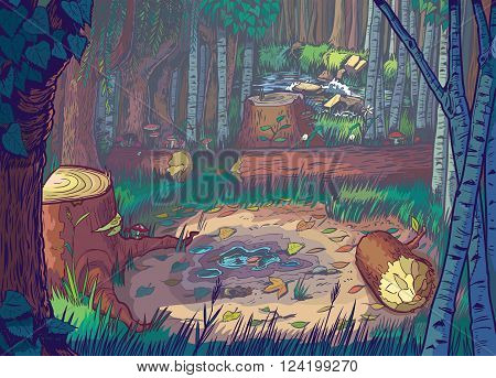 Vector Cartoon Illustration of a forest clearing scene with felled trees and logs and a stream or river in the background. The file is organized into layers for easy editing.