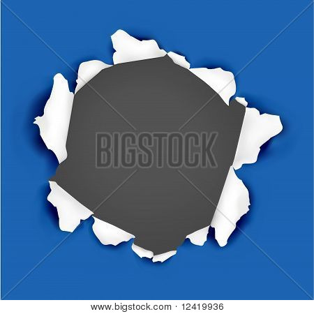 Blue ripped paper on a black background. Vector.