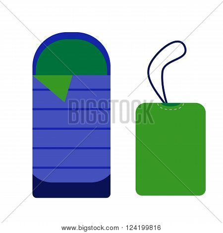 Sleeping bag icon. Camping tourist bedroll isolated on white background. Hiking equipment for sleep. Vector rolled tent and bag pictogram in flat design.