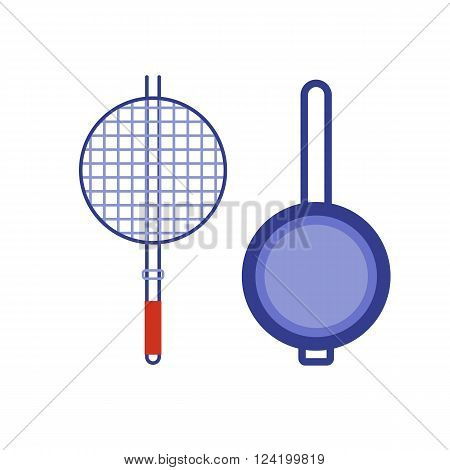 Barbecue brazier and pan flat icons. Kitchen appliance vector brazier pictogram in flat design. Cartoon pan isolated on white background