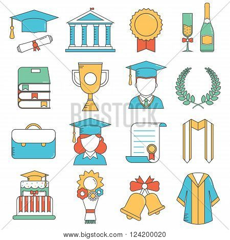 Graduation outline vector icon set of celebration elements. Man and woman graduate in hats and celebrating education party line art. Graduation award thin line icons collection for web and devices