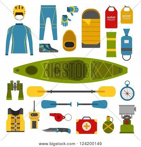 Rafting and kayaking elements collection. Boating equipment. Life vest jacket wetsuit paddle waterproof bag rafting helmet vector pictograms. Kayak boat trip elements in flat design isolated.