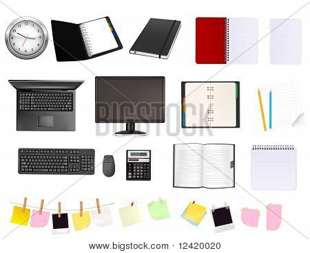 collection of business and office supplies