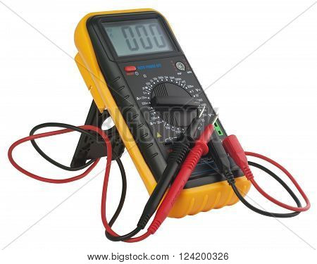 Digital multimeter. Object is isolated on white background without shadows.