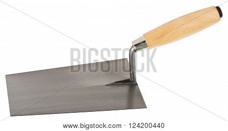Mason's trowel. Object is isolated on white background without shadows.