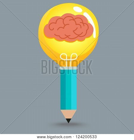 Creative object from brain , light bulb and pencil
