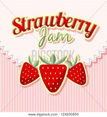 Retro strawberries with title on striped background