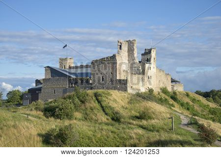 Ruins of the Livonian order castle in Rakvere august evening. Estonia