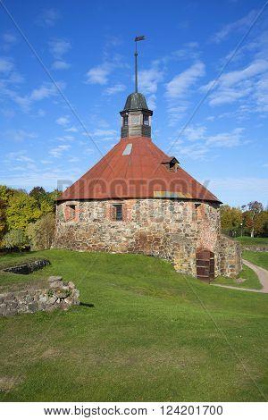 An ancient tower Lars Torstenson in the fortress Korela sunny october day. Priozersk, Leningrad region, Russia