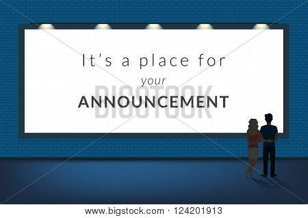 Big announcement banner blank with a couple standing near and looking at the artwork. Flat illustration of people visiting an exhibition