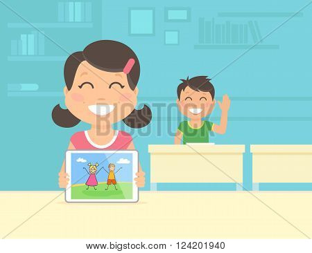 Young girl show her graphic illustration on the tablet pc. Flat concept illustration of modern school education with tablet pc and digital technologies