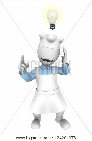 3d cooking chef with idea lamp over the head