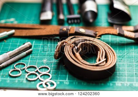 Working Space Background With Leather Camera Strap
