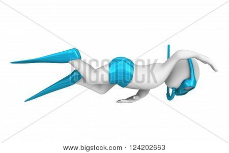 3d swimmer with a mask and flippers floats in the sea