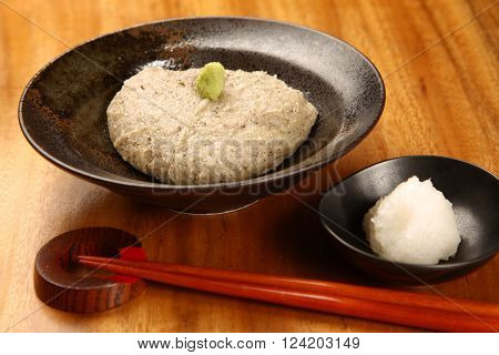 traditional Japanese food SOBAGAKI with chop stics