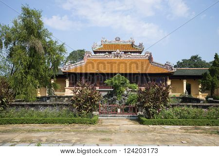 View of the old imperial pavilion Thai Binh in the forbidden purple city, Hue. Vietnam