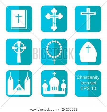 Christianity religion flat icons set vector illustration