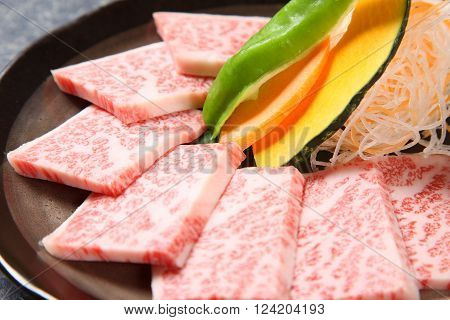 close up shot of sliced beef for Korean barbecue