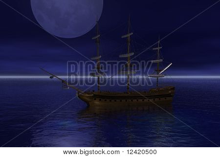 Anchored Sailing Ship in the Moonlight
