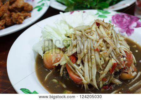 Thai food ,Papaya salad thai or SOM TUM