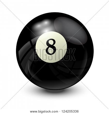 billiard ball 8- realistic vector design