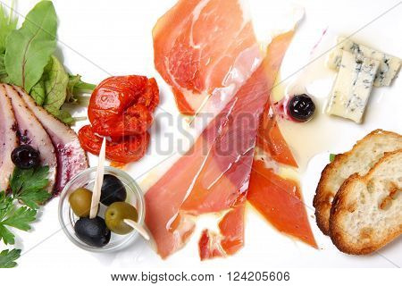 close up shot of cold italian appetizers