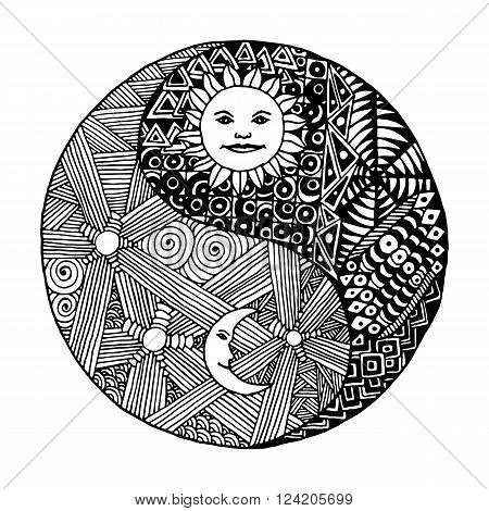 Yin yang to paint in a style doodle, zentangl, sunny day versus moon at night. on  white background