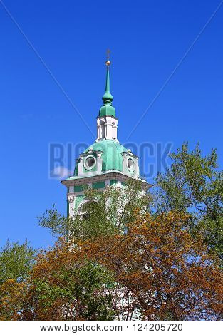 Bell tower of the orthodox monastery built in baroque style