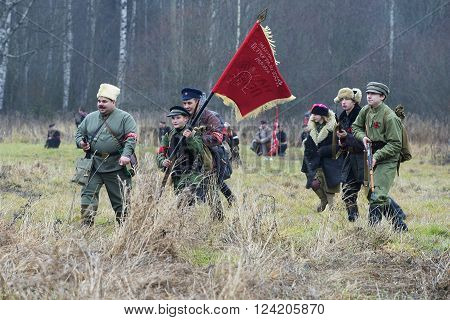 GATCHINA, RUSSIA - NOVEMBER 07, 2015: A detachment of Petrograd workers in the attack, the international military-historical festival