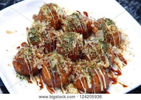 close up shot of Japanese food Octopus Balls TAKOYAKI