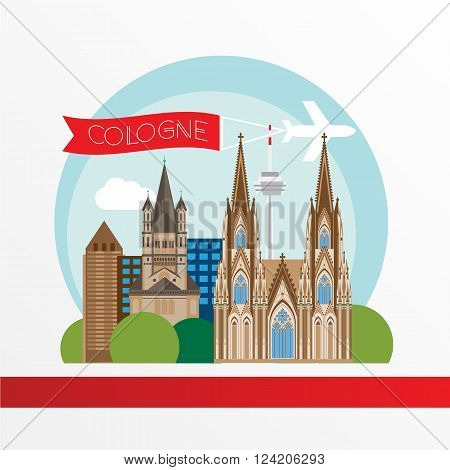 Cologne detailed silhouette. Trendy vector illustration, flat style. Stylish colorful  landmarks. Great St. Martin Church, Cologne Cathedral the symbol of Cologne, Germany.