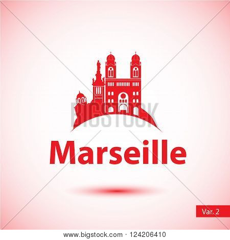 Marseille City skyline silhouette. Vector illustration. Simple flat concept for tourism presentation, banner, placard or web site. Business travel concept. Cityscape with landmarks