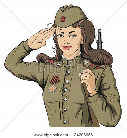 Russian Girl soldier. Female soldier in retro military uniforms. May 9 Victory Day. Isolated on white vector illustration