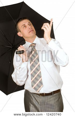The Businessman Under An Umbrella