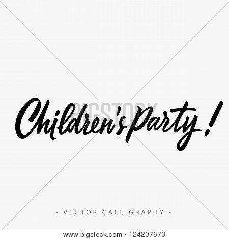Childrens party inscription with exclamation mark isolated on white background