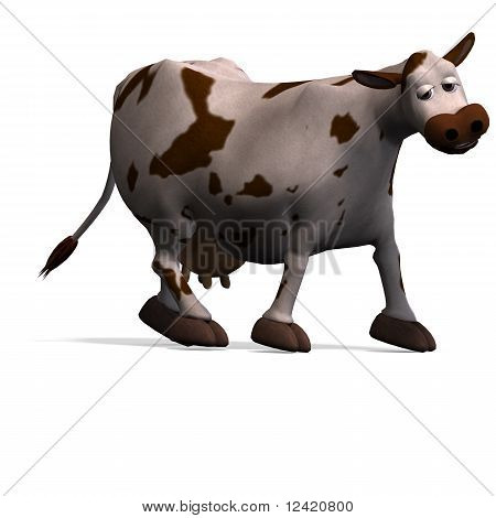 vaca de dibujos animados lindo y divertido