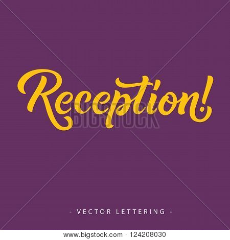 Yellow reception inscription with exclamation mark isolated on purple background