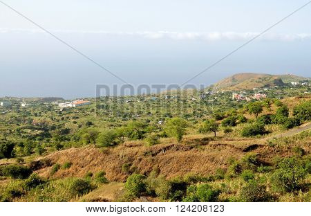 Mountain and Valley on the landscape of the town of Ponta Verde on the island of Fogo, Cabo Verde, as seen from higher elevation.