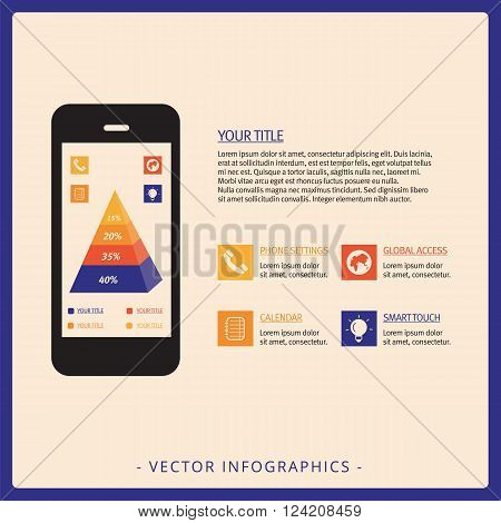 Editable infographic template representing stacked four level pyramid chart on screen of mobile phone, multicolored version