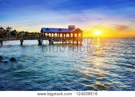 Pier at the beach in Key West Florida USA