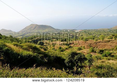 The landscape of the town of Ponta Verde on the island of Fogo Cabo Verde as seen from higher elevation