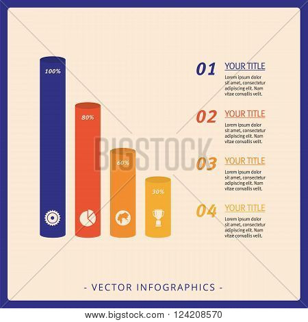 Editable template of vertical bar chart with four columns with icons, percent marks, titles and sample text