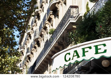 Cafe sign Paris France entrance canopy buildings ** Note: Soft Focus at 100%, best at smaller sizes