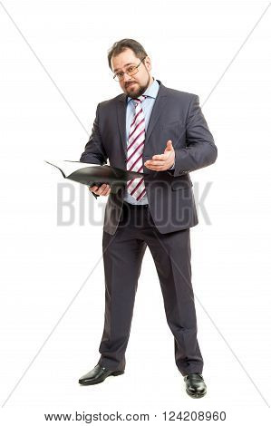 The Adult Man Holds The Folder