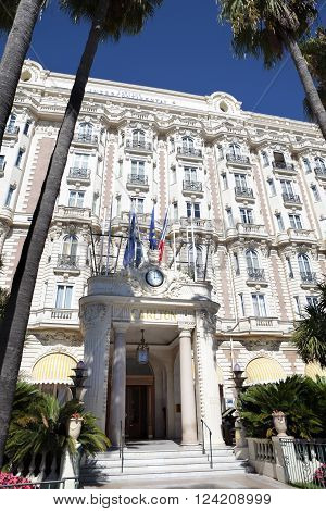 Cannes, France - September 18, 2013: Front entrance of the Carlton International Hotel situated on the croisette boulevard in Cannes, France