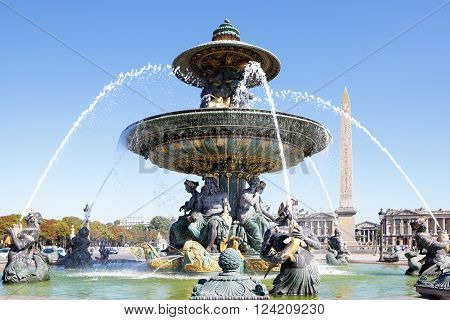 Famous fountain Place de la Concorde, Paris, france, Obelisk of Luxor