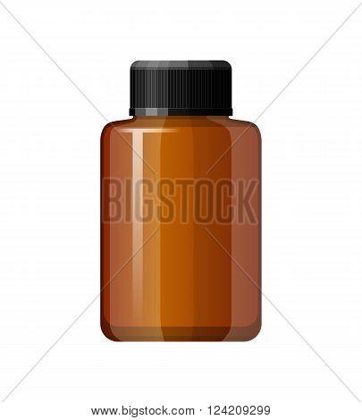 Isolated medicine bottle on white background. Empty medicine bottle for drugs tablets capsules. Pharmaceutic container. Vector medicine bottle