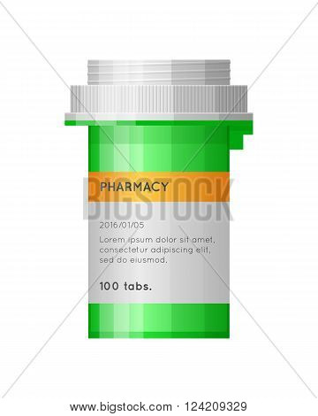 Medicine bottle with label. Empty bottle for drugs tablets capsules prescriptions vitamins etc. Pharmaceutic container isolated on white background